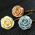 Resin Rose Bobby Pins