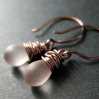 Copper Wire Wrapped Teardrop Earrings